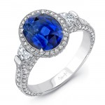 Uneek Deco-Inspired Oval Blue Sapphire and Half-Moon Diamond Three-Stone Ring