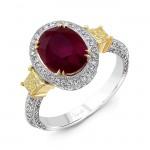 Uneek Estate-Inspired Three-Stone Ring with Oval Ruby Center and Fancy Yellow Diamond Sidestones, 18K Gold