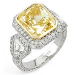 Uneek Natureal Collection Yellow Radiant Diamond Engagement Ring LVS379