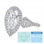 Uneek Three-Stone Ring with Pear-Shaped Diamond Center and Kite-Shaped Sidestones, Platinum