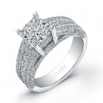 Platinum Princess-Cut Diamond Ring LVS722