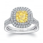 """Uneek Cushion-Cut Fancy Yellow Diamond Engagement Ring with Double Halo and """"Silhouette"""" Shank"""