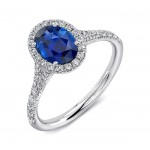 Uneek Petite Oval Blue Sapphire Ring with Diamond Halo and Split Upper Shank