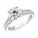 Uneek Round Diamond Engagement Ring, in 14K White Gold