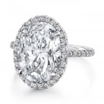 Uneek 6-Carat Oval Diamond Halo Ring with Fleur-de-Lis Diamond Gallery, White Gold