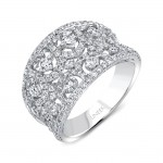 """Uneek """"Le Puy"""" Contoured Open Lace Diamond Band in 18K White Gold"""