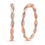 "Uneek ""Loma Linda"" Inside-Out Diamond Hoop Earrings, Rose Gold version"