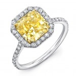 Uneek Classic Radiant-Cut Fancy Yellow Diamond Halo Engagement Ring, in 18K Gold
