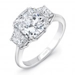 Uneek LVS973CU Cushion-Center Three-Stone Engagement Ring