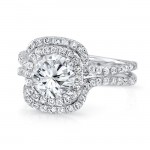 Round Diamond Engagement Ring with Double Cushion Halo and Pave Double Shank from Uneek