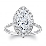 Uneek Classic Marquise Diamond Halo Pavé Engagement Ring, 14K White Gold
