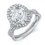 "Uneek Oval Diamond Halo Ring with ""Silhouette"" Double Shank and Flared Pavé Shoulders, Platinum"