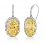Uneek Oval Yellow Diamond Earrings, Platinum and 18K Yellow Gold
