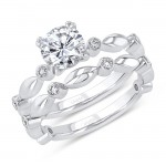 Uneek Round Diamond Bridal Set with Bezel Accents and High-Polish Navette-Shaped Beads, 14K White Gold