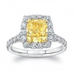 Uneek Cushion-Cut Yellow Diamond Engagement Ring with Scallop-Effect Halo