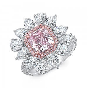 Uneek Radiant Cut Pink Purple Diamond Engagement Ring GIA Certified in a Flower Design with Pear Shaped Diamonds, Pink and White Round Diamonds Side Stones, in Platinum