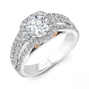 """Luminare"" Round-Diamond-on-Cushion-Halo Engagement Ring from Uneek"