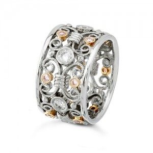 Uneek Natureal Pink and White Diamonds Platinum and 18K Rose Gold Band LVB055
