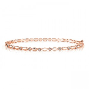 "Uneek ""Oriole"" Stackable Diamond Bangle, Yellow Gold version"