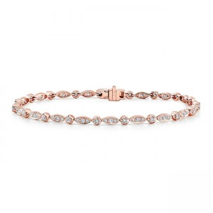 Uneek Rose Gold Diamond Bracelet with Navette-Shaped Clusters and Round Bezel Accents