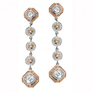 Uneek Pink and White Asscher Diamond Earrings LVE038