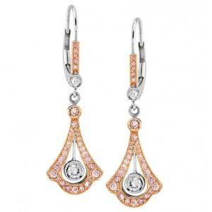 Uneek 18K Rose and White Gold Pink Diamond Earrings LVE053