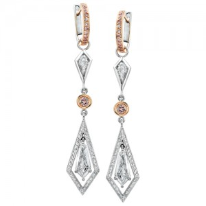 Uneek 18K Rose and White Gold Kite Diamond Earrings LVE067