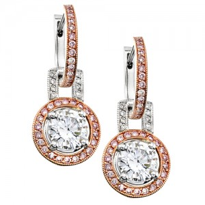 Uneek 18K Rose and White Gold Pink and White Diamond Earrings LVE085