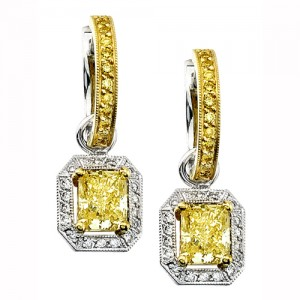 Uneek 18K Yellow Gold Yellow Radiant Diamond Earrings LVE089
