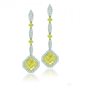 Uneek Platinum Yellow Radiant Diamond Dangling Earrings LVE122