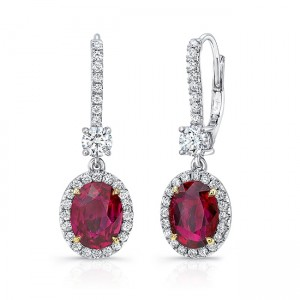 Uneek Oval Ruby Dangle Earrings with Round Diamond Accents, 18K Gold