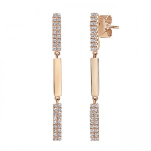 Uneek Dangling Diamond Earring, in 14K Rose Gold - LVEAS1827R