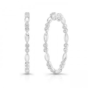 "Uneek ""Cahuenga"" Inside-Out Diamond Hoop Earrings, Rose Gold version"