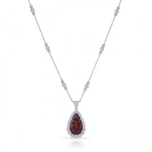 Uneek Pear Rhodolite Necklace, in 18K White Gold