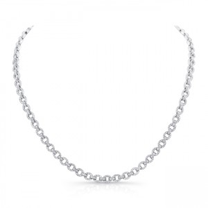 Uneek Diamond Pave Round Link Necklace, 18K White Gold