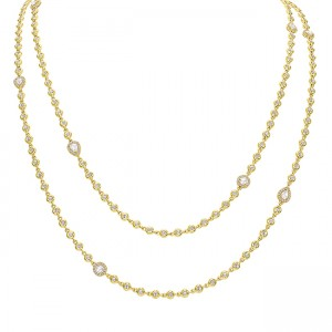 Uneek Rose Cut Diamond Necklace, in 14K Yellow Gold