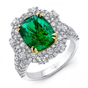 Uneek Cushion-Cut Emerald Halo Cocktail Ring, 18K Gold