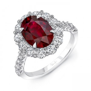 Uneek Oval Ruby Engagement Ring, in 18K White Gold