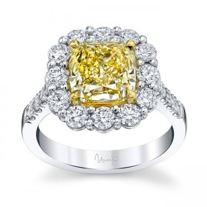 Uneek Oval Fancy Yellow Diamond Engagement Ring, in Platinum