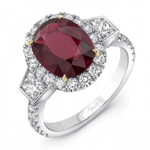 Uneek Contemporary Three-Stone Ring with Oval Ruby Center, in 18K White and Yellow Gold