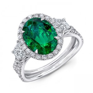 """Uneek Three-Stone Ring with Oval Green Emerald Center and Pave """"Silhouette"""" Shank"""