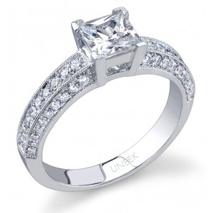 Uneek 18K White Gold Princess-Cut Diamond Engagement Ring SW120