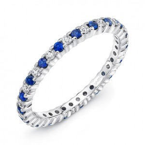 Sapphire and diamond wedding band from Uneek