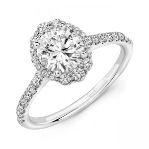 Uneek Round Diamond Engagement Ring with Oval-Illusion Halo and Pave Upper Shank, in 14K White Gold