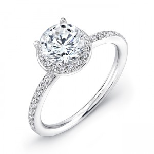Uneek Classic Round Diamond Halo Engagement Ring, 14K White Gold