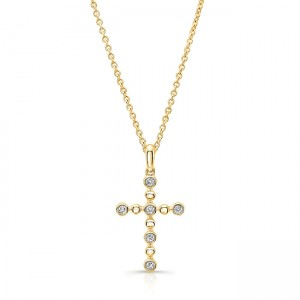 Uneek Petite Cross Pendant with 6 Round Diamonds and Bead Accents, 14K Yellow Gold
