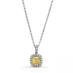 Uneek Cushion-Cut Fancy Yellow Diamond Pendant with Halo, 18K Gold