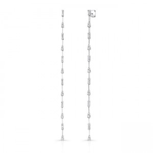 Uneek Cascade Collection Dangle Earrings with Tapered Baguette and Round Diamonds, 18K White Gold