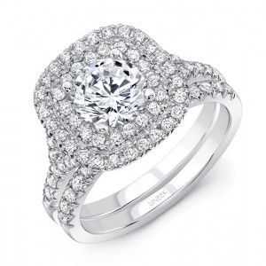 """Uneek Round Diamond Engagement Ring with Cushion-Shaped Double Halo, Filigree Detail and """"Surprise"""" Diamonds, in 14K White Gold, with Matching Wedding Band"""