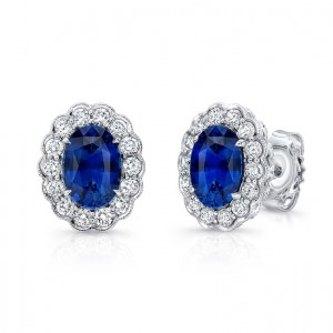 Uneek Oval Blue Sapphire Stud Earrings with Scallop-Style Diamond Halo with Milgrain Edging, 18K White Gold